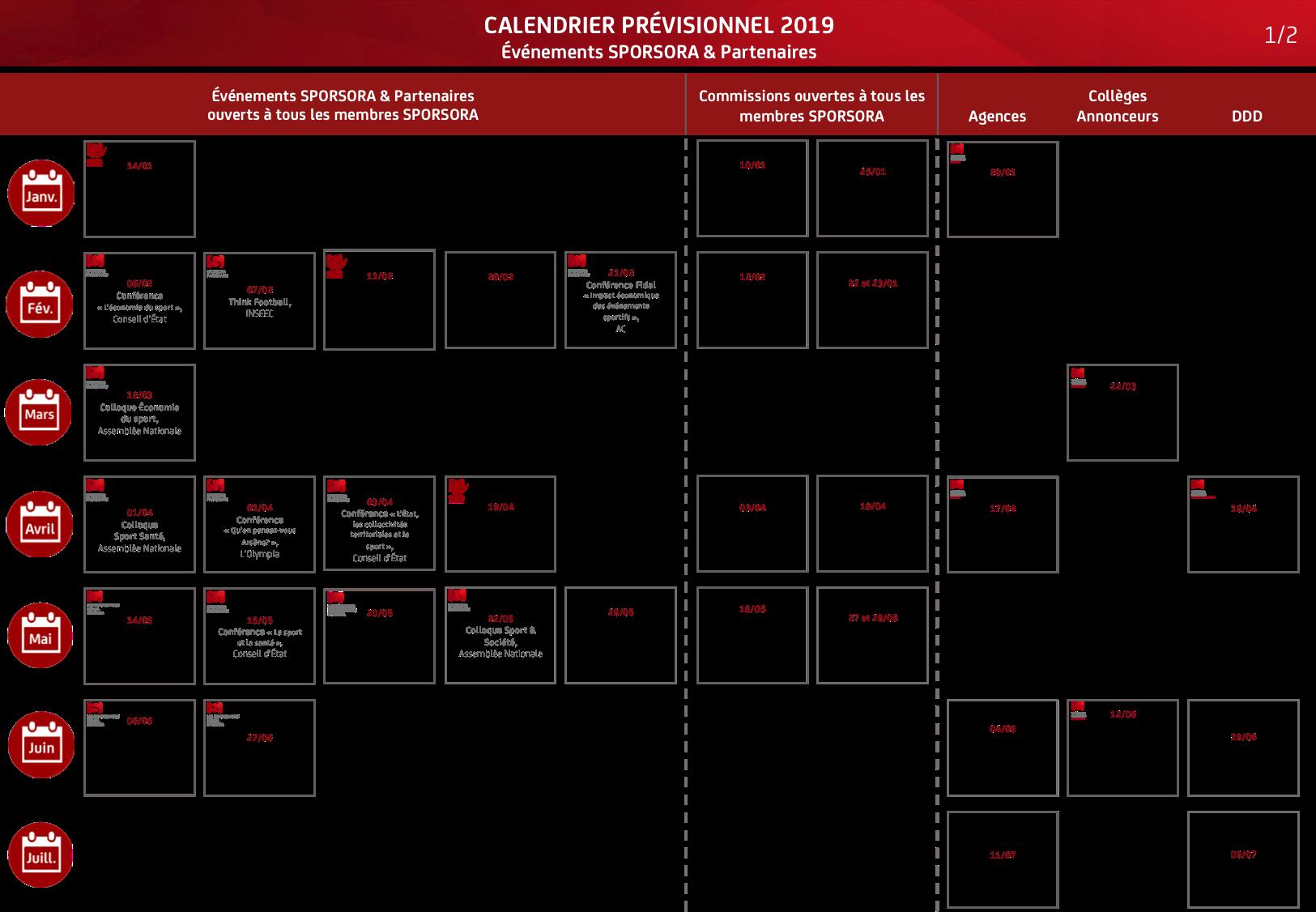 Calendrier De Travail.Sporsora Calendrier 2019