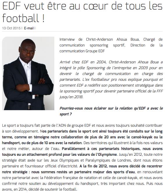 """Christ-Anderson Ahoua Boua : """"EDF veut être au cœur de tous les football !"""""""