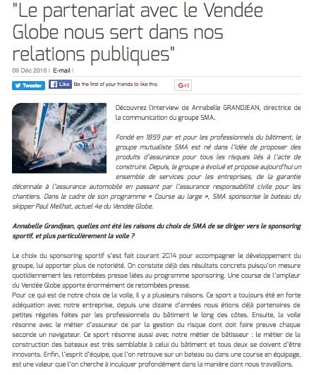 """""""Le partenariat avec le Vendée Globe nous sert dans nos relations publiques"""""""