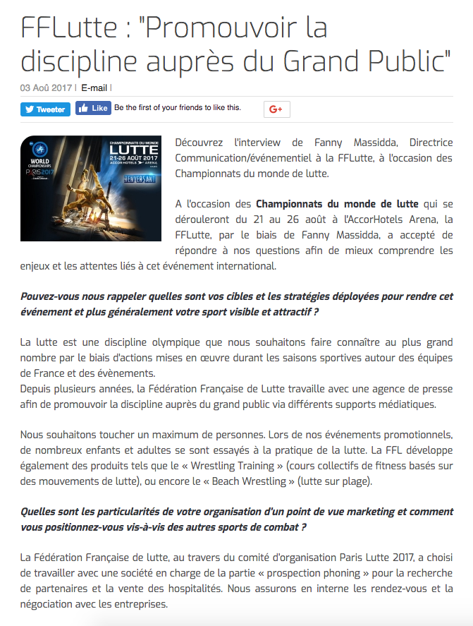 """FFLutte : """"Promouvoir la discipline auprès du Grand Public"""""""