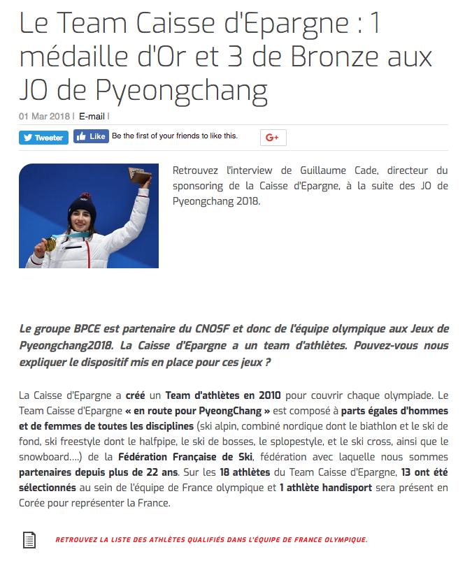 Caisse d'Epargne (Pyeongchang 2018) - 1 médaille d'Or et 3 de Bronze