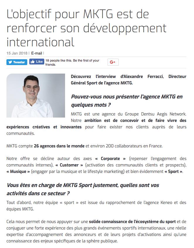 L'objectif pour MKTG est de renforcer son développement international