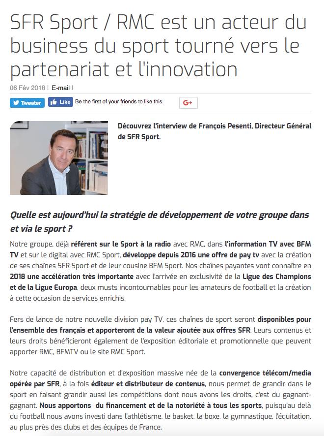 SFR Sport / RMC est un acteur du business du sport tourné vers le partenariat et l'innovation