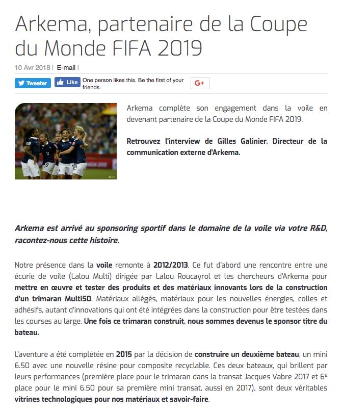 Arkema, partenaire de la Coupe du Monde FIFA 2019