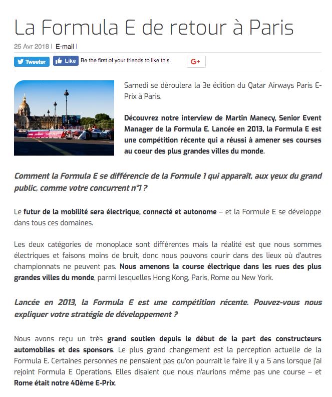 La Formule E de retour à Paris