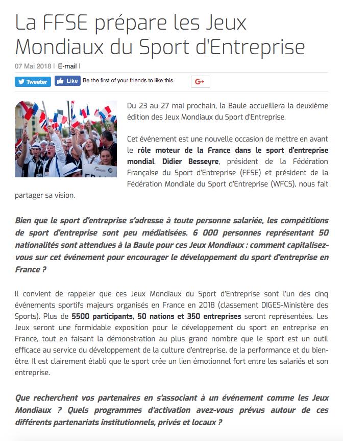 La FFSE prépare les Jeux Mondiaux du Sport d'Entreprise