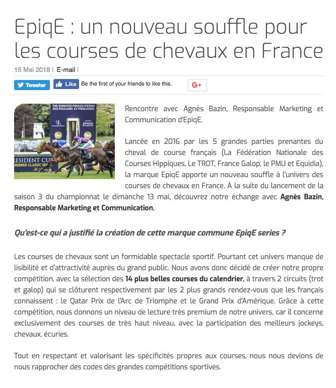 EpiqE : un nouveau souffle pour les courses de chevaux en France