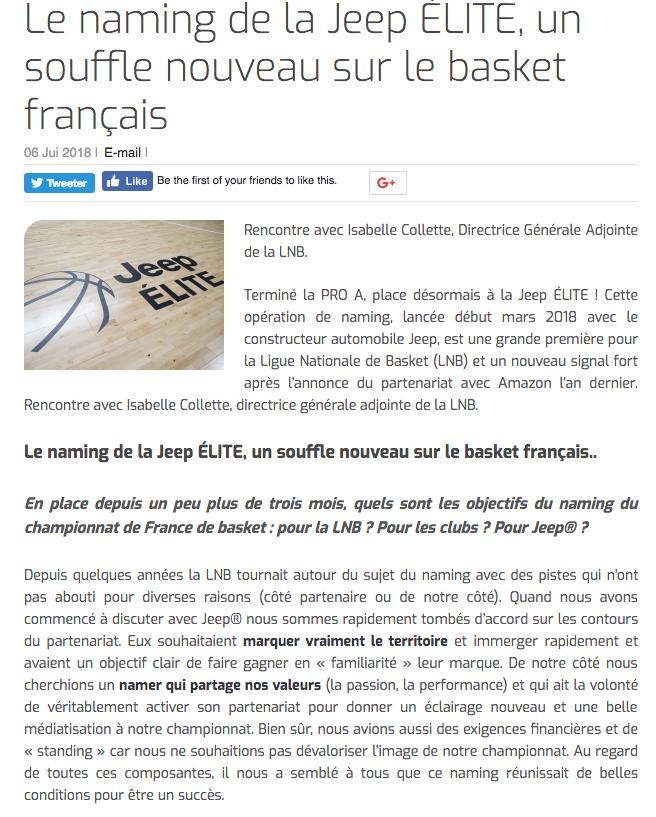 Le naming de la Jeep ÉLITE, un souffle nouveau sur le basket français