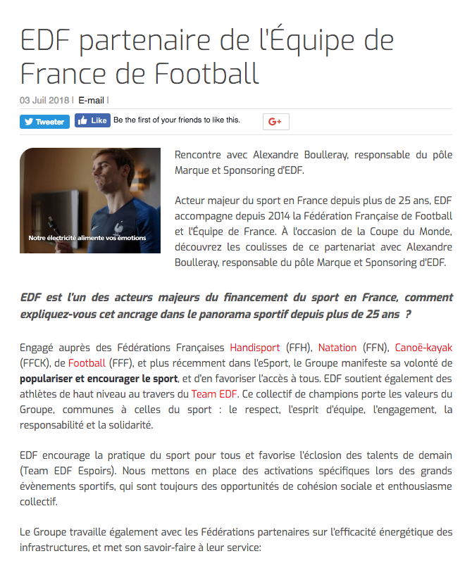 EDF partenaire de l'Équipe de France de Football