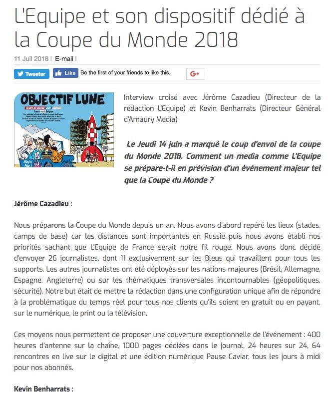 L'Equipe et son dispositif dédié à la Coupe du Monde 2018