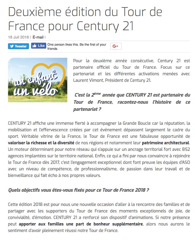 Deuxième édition du Tour de France pour Century 21