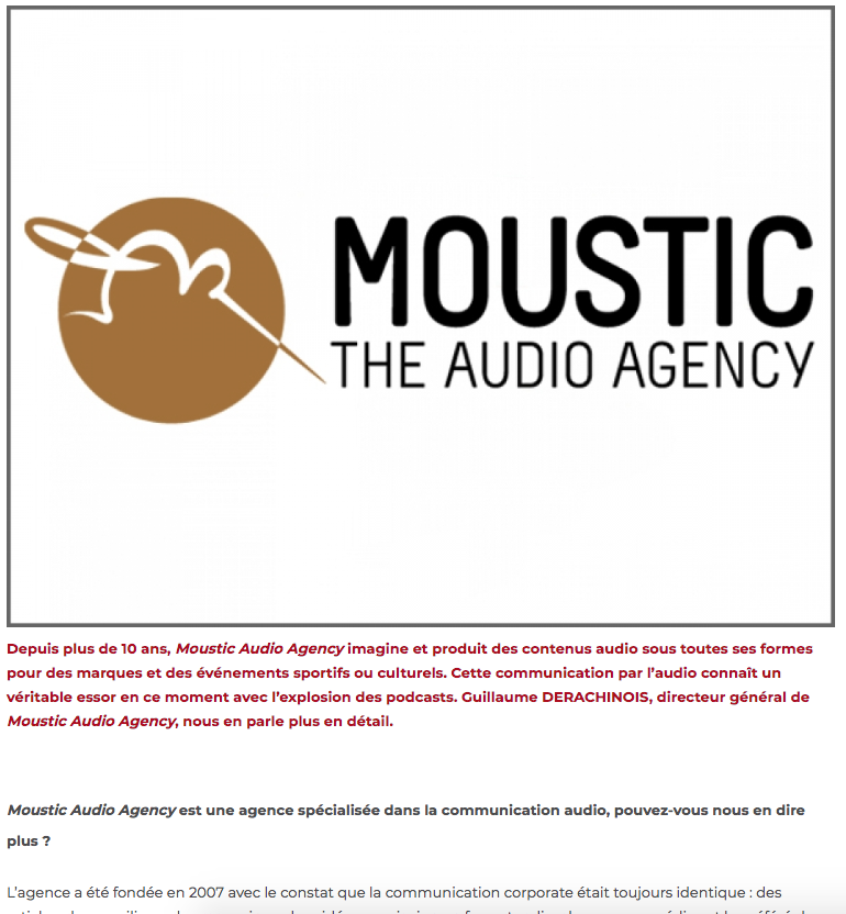 À la découverte de Moustic, The Audio Agency