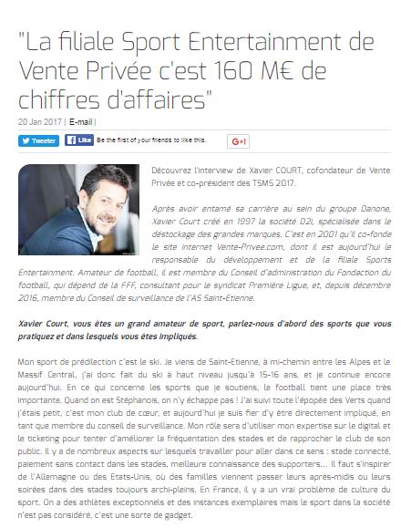 """""""La filiale Sport Entertainment de Vente Privée c'est 160 M€ de chiffres d'affaires"""""""