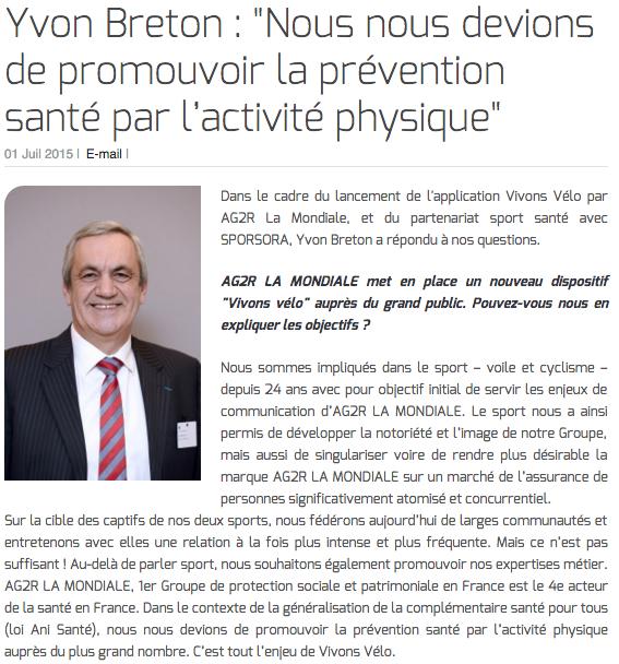 """Yvon Breton : """"Nous nous devions de promouvoir la prévention santé par l'activité physique"""""""