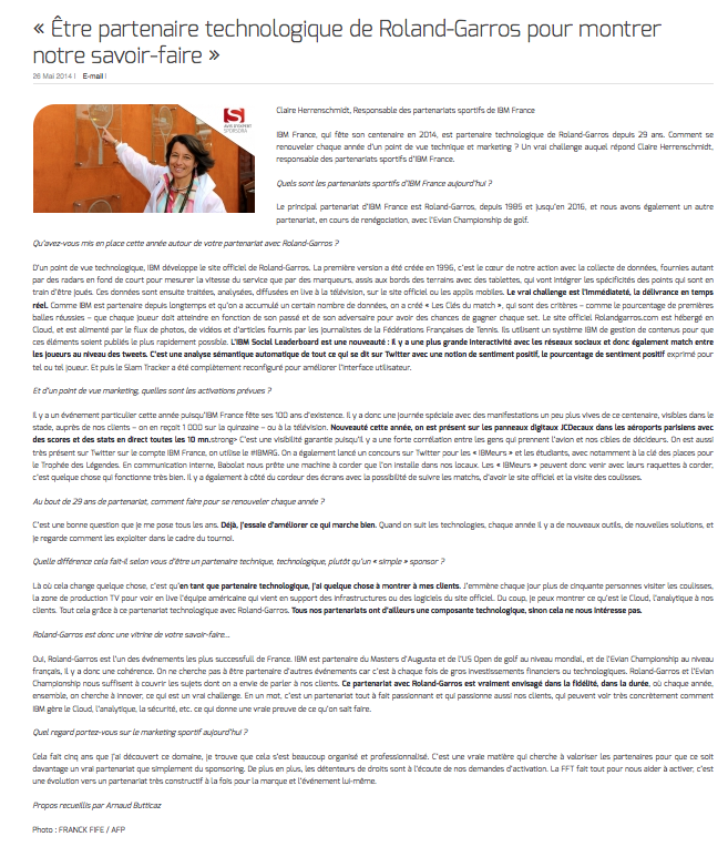 """""""Être partenaire technologique de Roland-Garros pour montrer notre savoir-faire"""""""