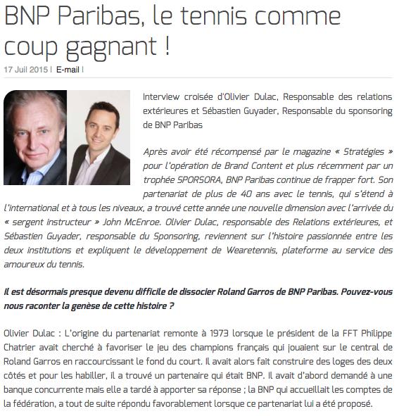 BNP Paribas, le tennis comme coup gagnant !