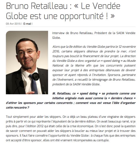 Bruno Retailleau : « Le Vendée Globe est une opportunité ! »