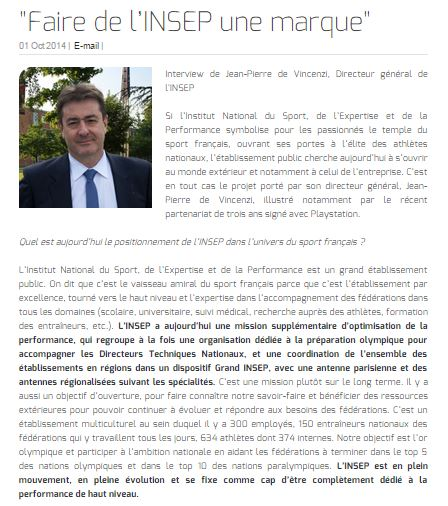 """""""Faire de l'INSEP une marque"""""""
