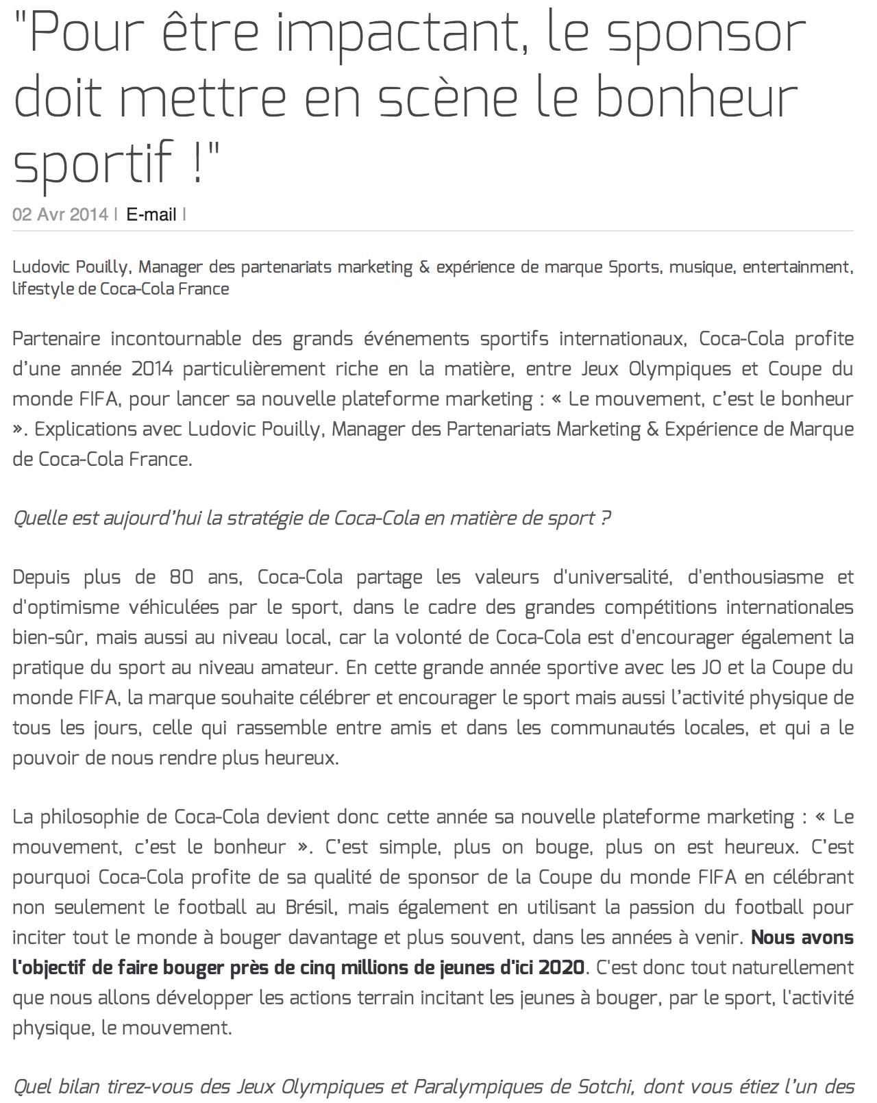 """""""Pour être impactant, le sponsor doit mettre en scène le bonheur sportif !"""""""