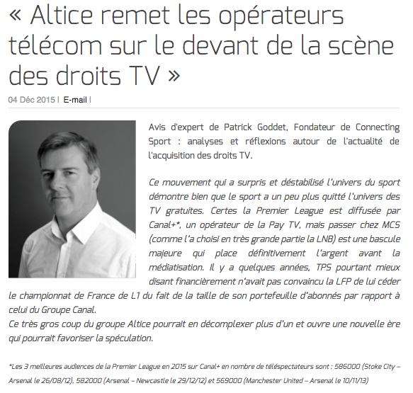 Patrick Goddet : « Altice remet les opérateurs télécom sur le devant de la scène des droits TV »