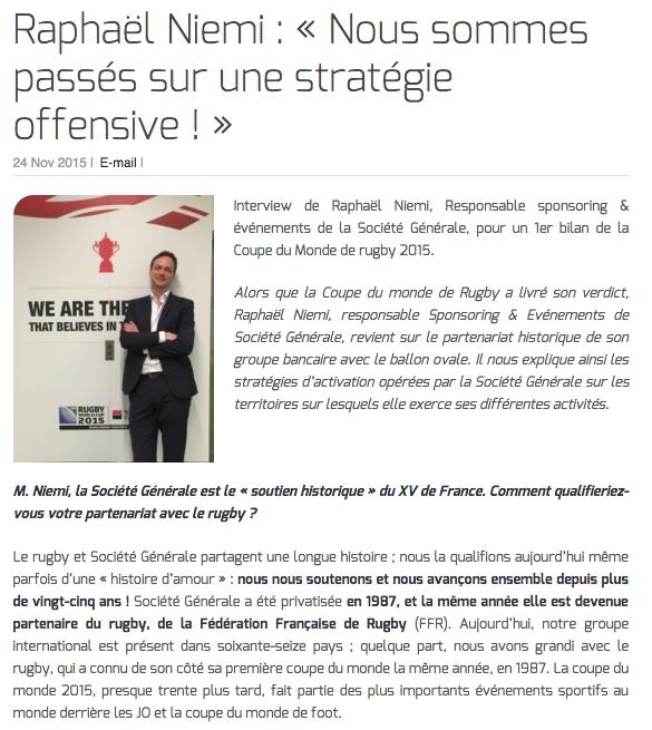 Raphaël Niemi : « Nous sommes passés sur une stratégie offensive ! »