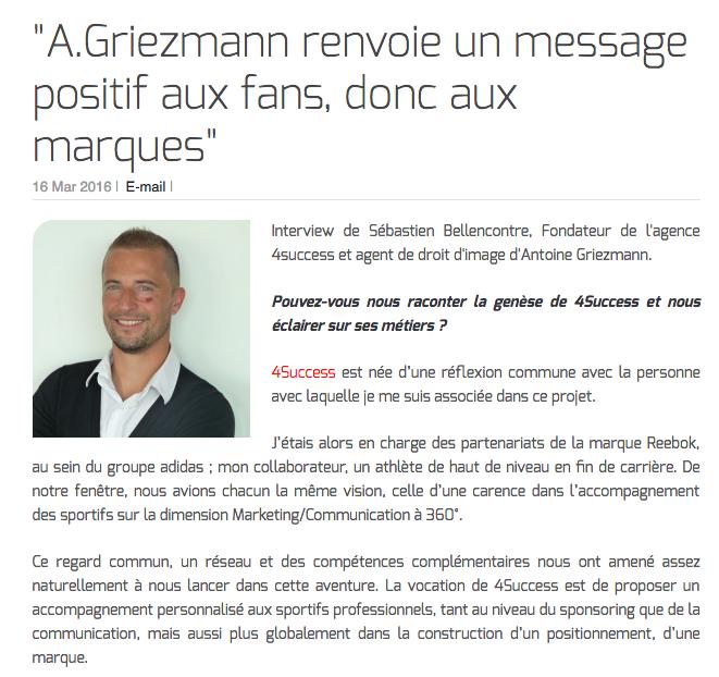 """Sébastien Bellencontre : """"A.Griezmann renvoie un message positif aux fans, donc aux marques"""""""