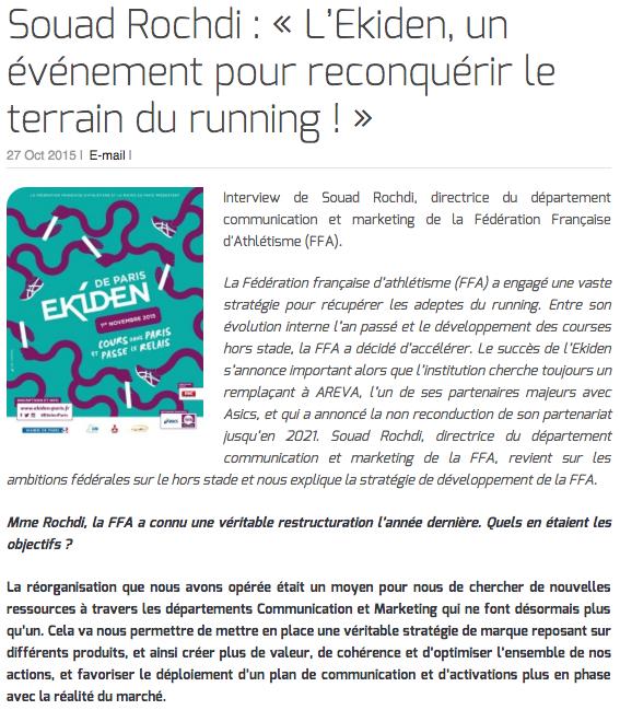 Souad Rochdi : « L'Ekiden, un événement pour reconquérir le terrain du running ! »