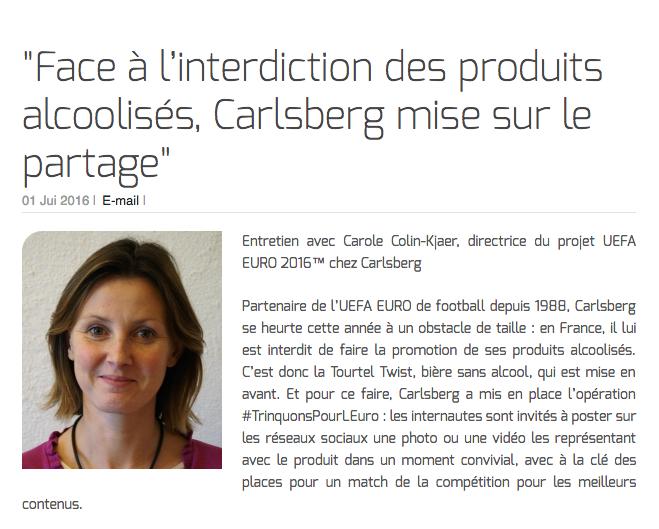 """""""Face à l'interdiction des produits alcoolisés, Carlsberg mise sur le partage"""""""