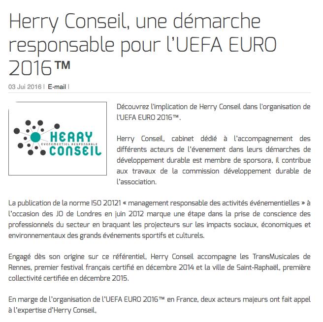Herry Conseil, une démarche responsable pour l'UEFA EURO 2016™