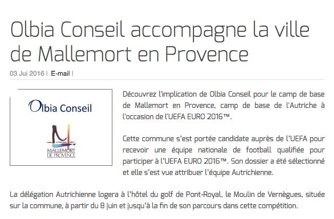 Olbia Conseil accompagne la ville de Mallemort en Provence