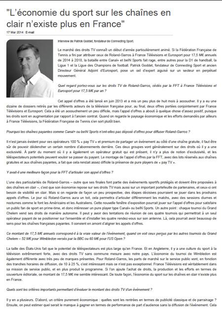 """""""L'économie du sport sur les chaînes en clair n'existe plus en France"""""""