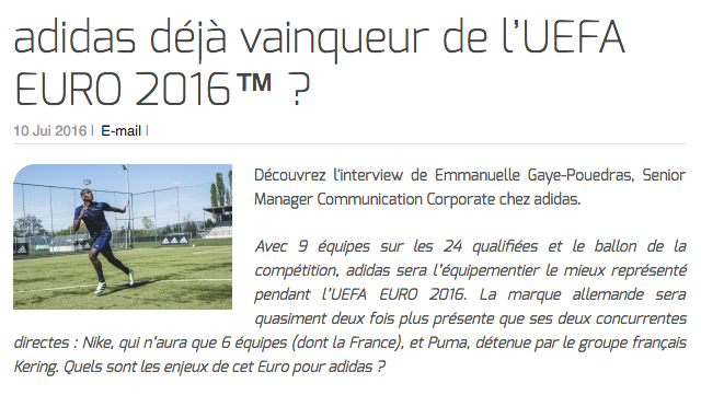 adidas déjà vainqueur de l'UEFA EURO 2016™ ?