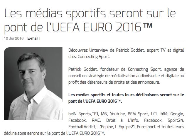 Les médias sportifs seront sur le pont de l'UEFA EURO 2016™