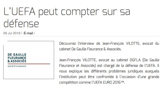 L'UEFA peut compter sur sa défense
