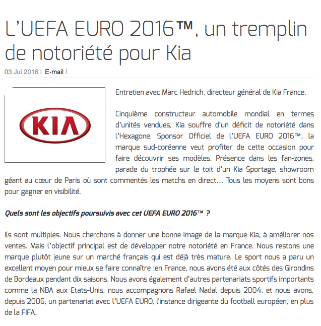 L'UEFA EURO 2016™, un tremplin de notoriété pour Kia