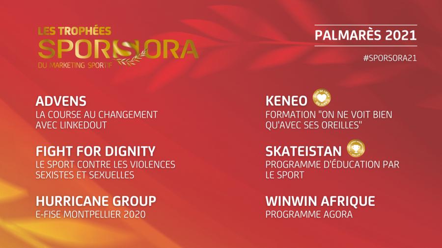 Les Six Lauréats de cette 17ème édition des Trophées SPORSORA